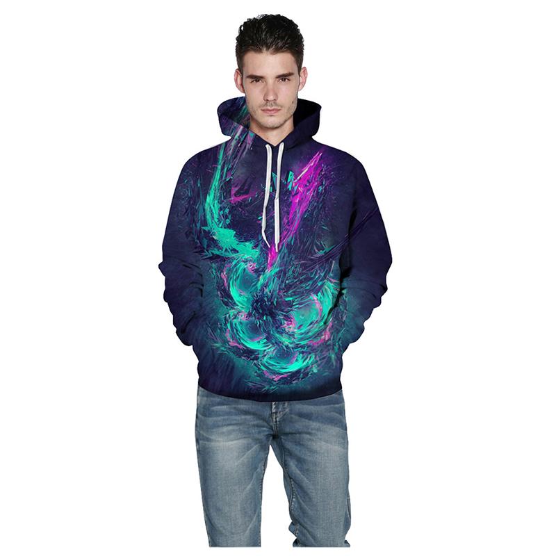Стильный свитшот с капюшоном и красочным 3D принтом унисекс (многоцветный, L-XL / US-10-12 / UK-14-16)