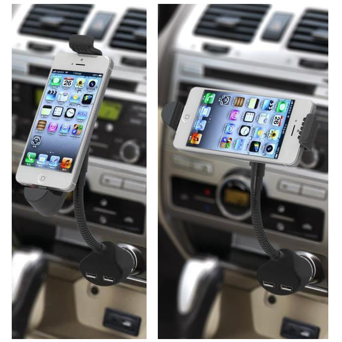 Two Port USB Car Charger Holder for iPhone 6S Plus 6 5S 5C 5 A6B6 RS