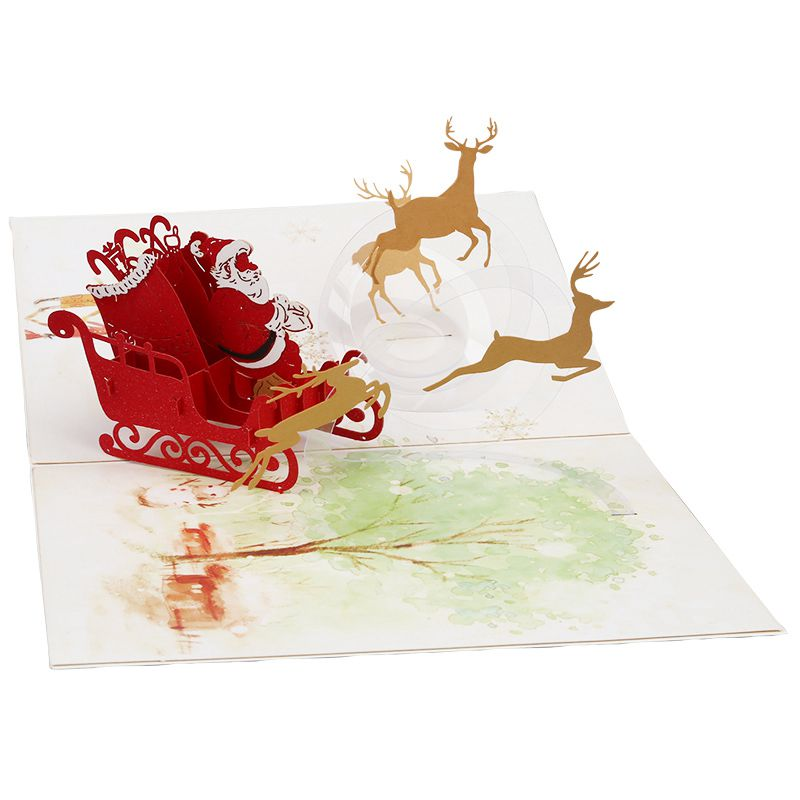 Happy deer car pop up card 3d christmas greeting card laser cut image is loading happy deer car pop up card 3d christmas m4hsunfo