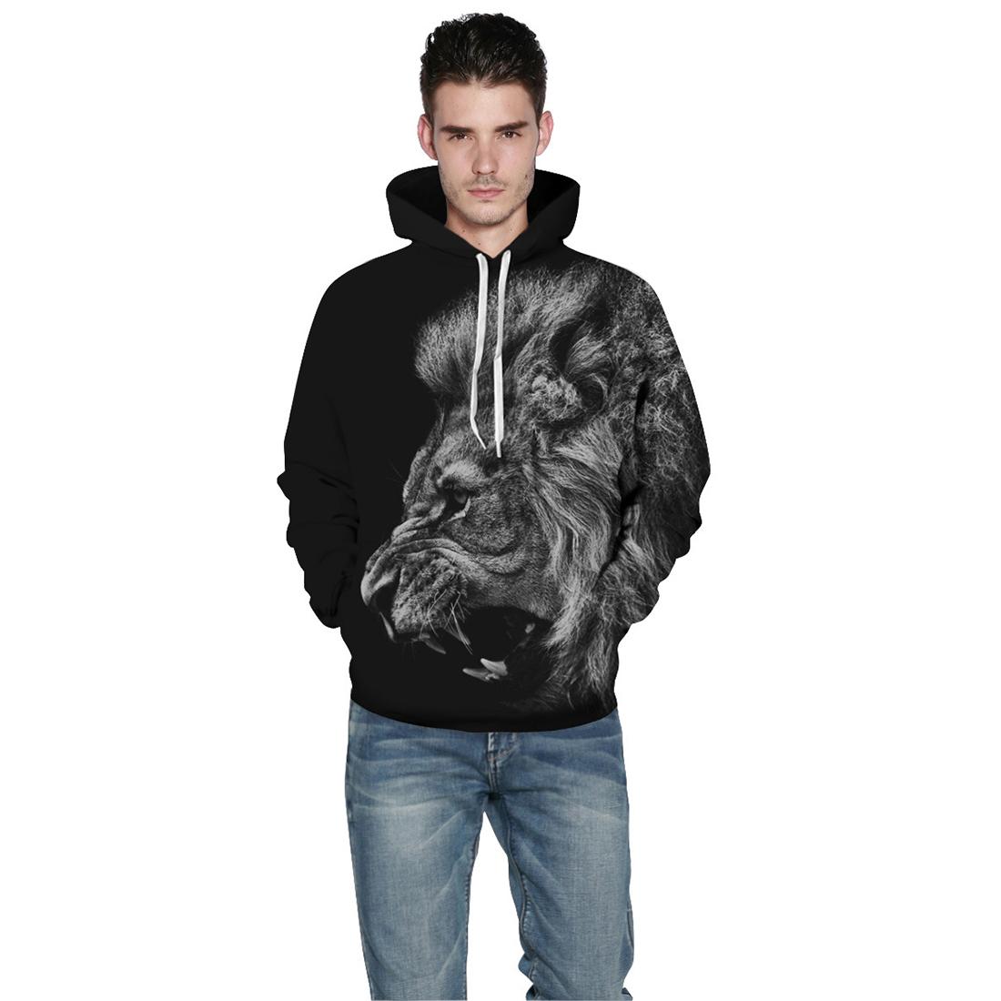 Повседневный свитшот с капюшоном и 3D принтом свирепого льва унисекс (черный, XXL-XXXL / US-14-16 / UK-18-20)