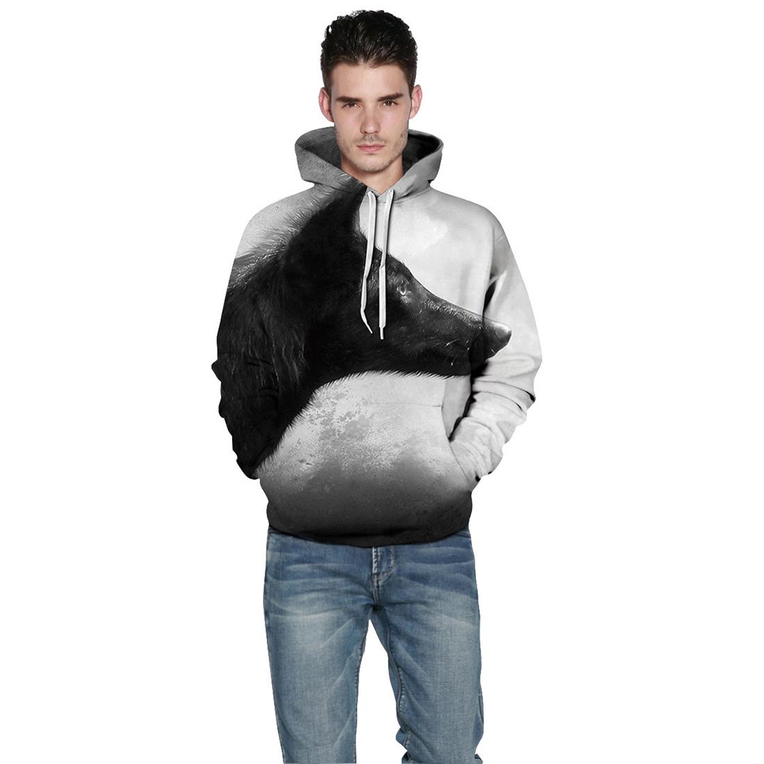 Повседневный свитшот с капюшоном и 3D рисунком волка унисекс (светло серый, XXL-XXXL / US-14-16 / UK-18-20)