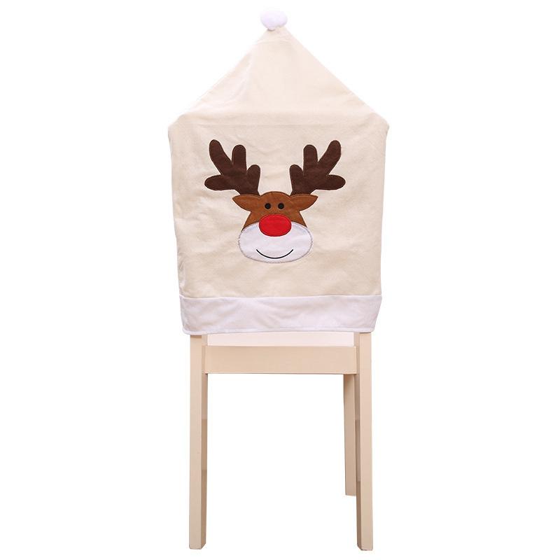 4PC-Silla-De-Ciervo-Sombrero-cubre-silla-de-cena-de-Navidad-Decoracion-Navidad-conjuntos-Reno-J2H4 miniatura 2