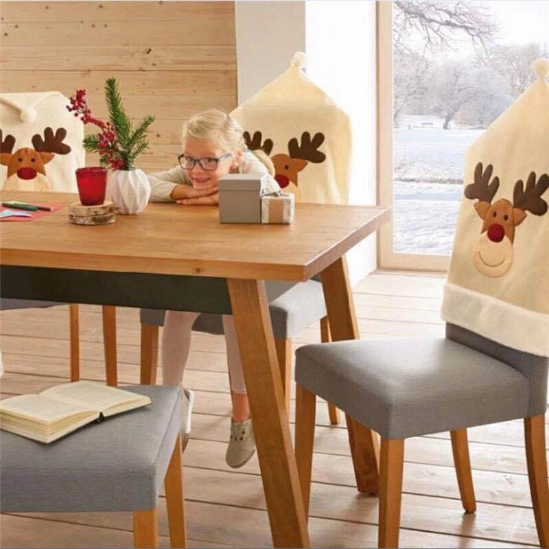 4PC-Silla-De-Ciervo-Sombrero-cubre-silla-de-cena-de-Navidad-Decoracion-Navidad-conjuntos-Reno-J2H4 miniatura 3