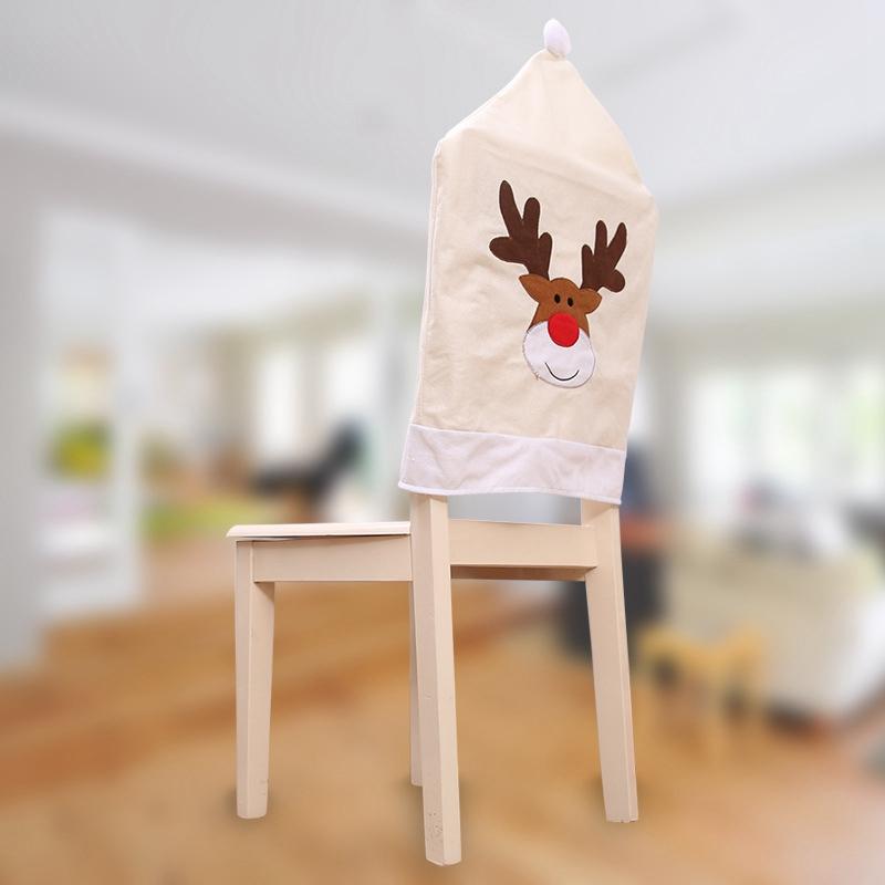 4PC-Silla-De-Ciervo-Sombrero-cubre-silla-de-cena-de-Navidad-Decoracion-Navidad-conjuntos-Reno-J2H4 miniatura 4