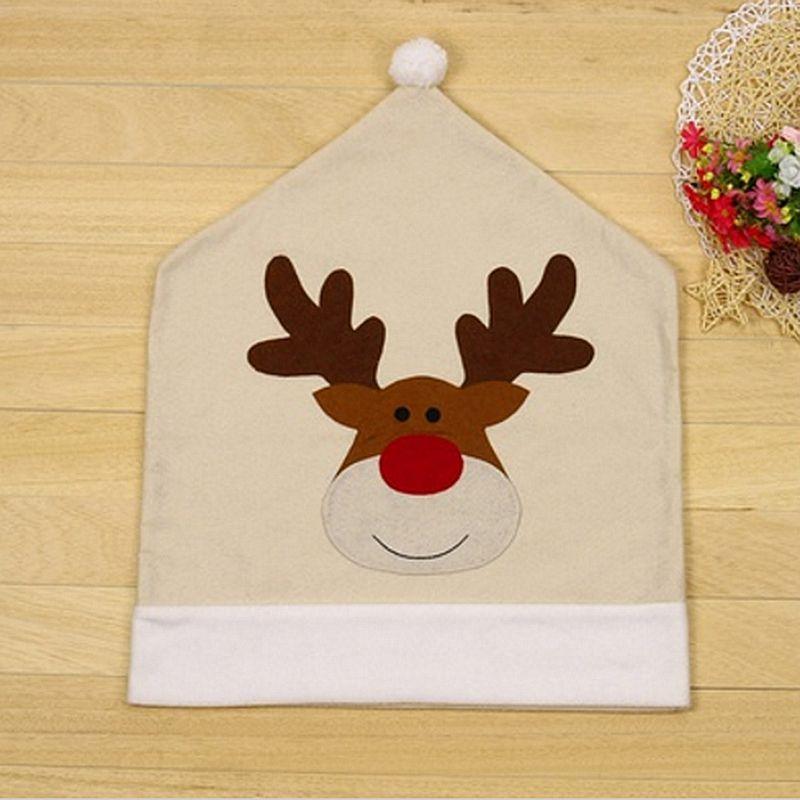 4PC-Silla-De-Ciervo-Sombrero-cubre-silla-de-cena-de-Navidad-Decoracion-Navidad-conjuntos-Reno-J2H4 miniatura 7