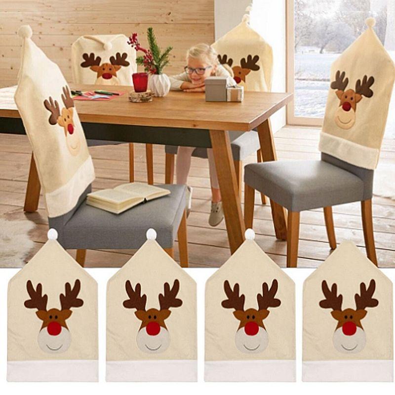 4PC-Silla-De-Ciervo-Sombrero-cubre-silla-de-cena-de-Navidad-Decoracion-Navidad-conjuntos-Reno-J2H4