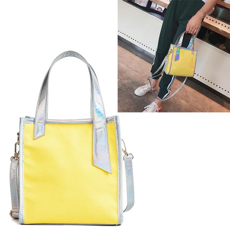 4981dd8c9cc8 NEW Women Bucket Bag PVC canvas Shoulder Bag Laser Handbag zipper ...