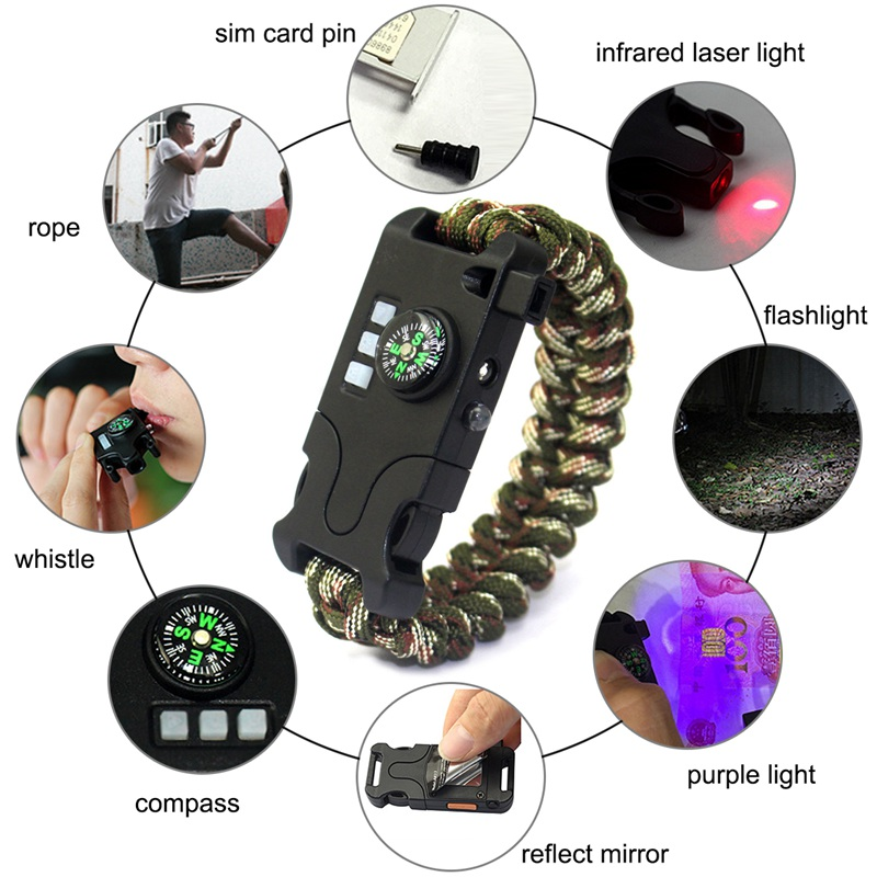 7 in 1 Multifunctional chargeable Outdoor Survival Weaving Bracelet,Umbrell M4T2