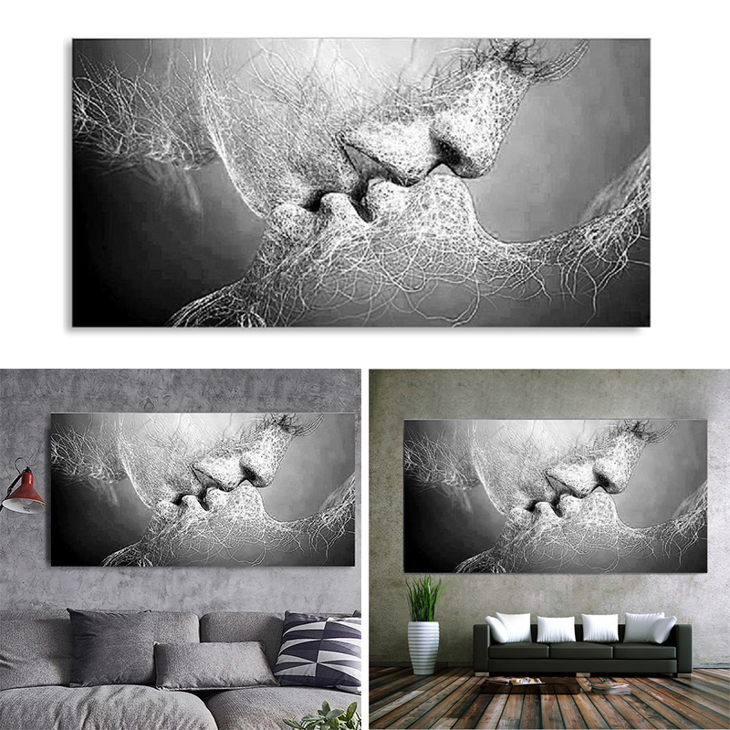 023996ced96 Fashion Black   White Love Kiss Abstract Art on Canvas Painting Wall ...