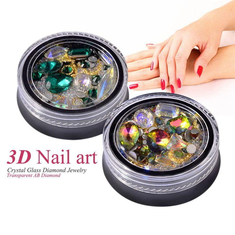 2X(2 Box 3D Nail Jewelry Ornaments Tip Shaped Diamond Transparent AB Crystal  O3 192701940447