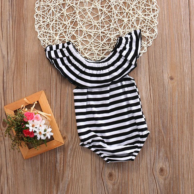 Mikrdoo Summer Cotton Newborn Baby Girl Striped Romper Lotus collar Jumpsui E2O1
