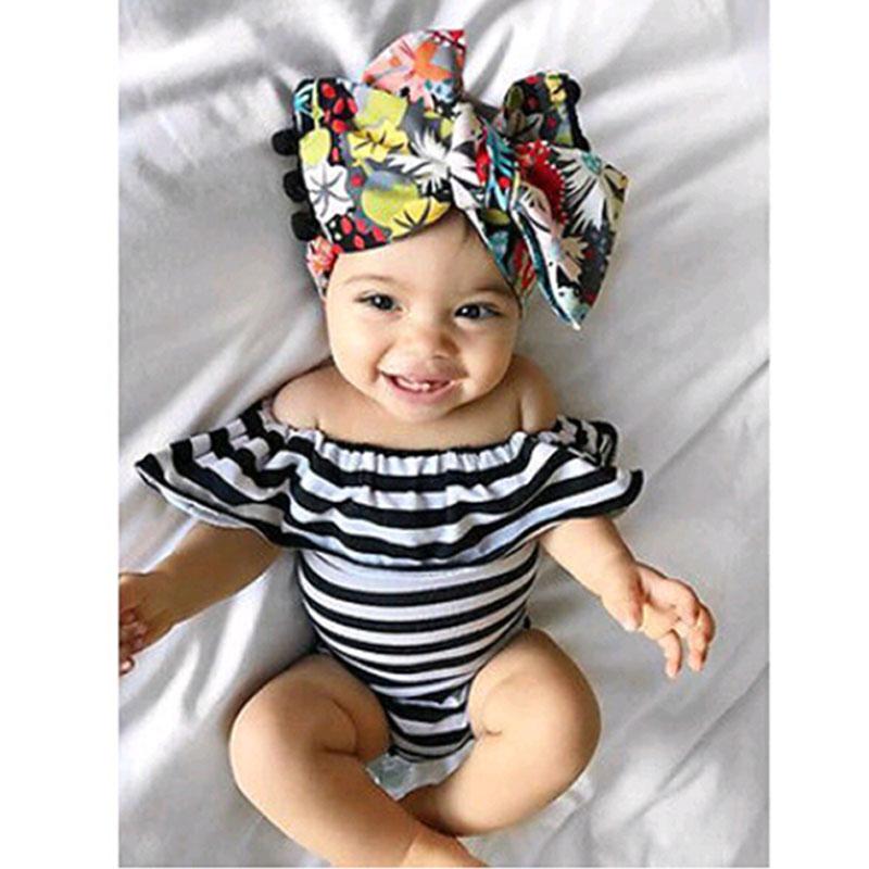 Mikrdoo Summer Cotton Newborn Baby Girl Striped Romper Lotus collar Jumpsui E2O1