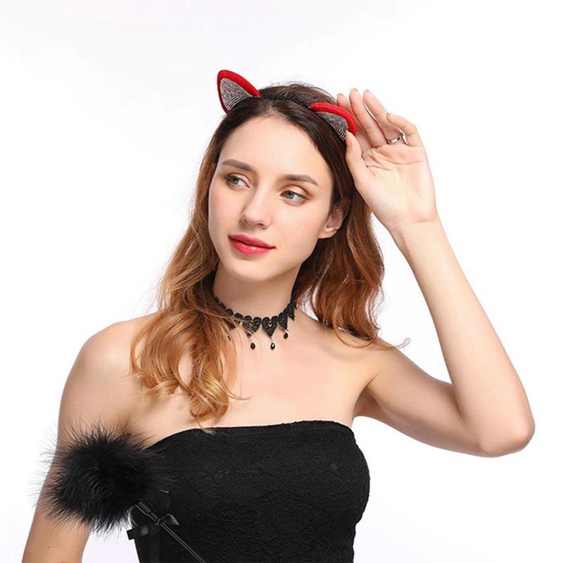 European and American diamond big cat headband Halloween Christmas party he B3O6