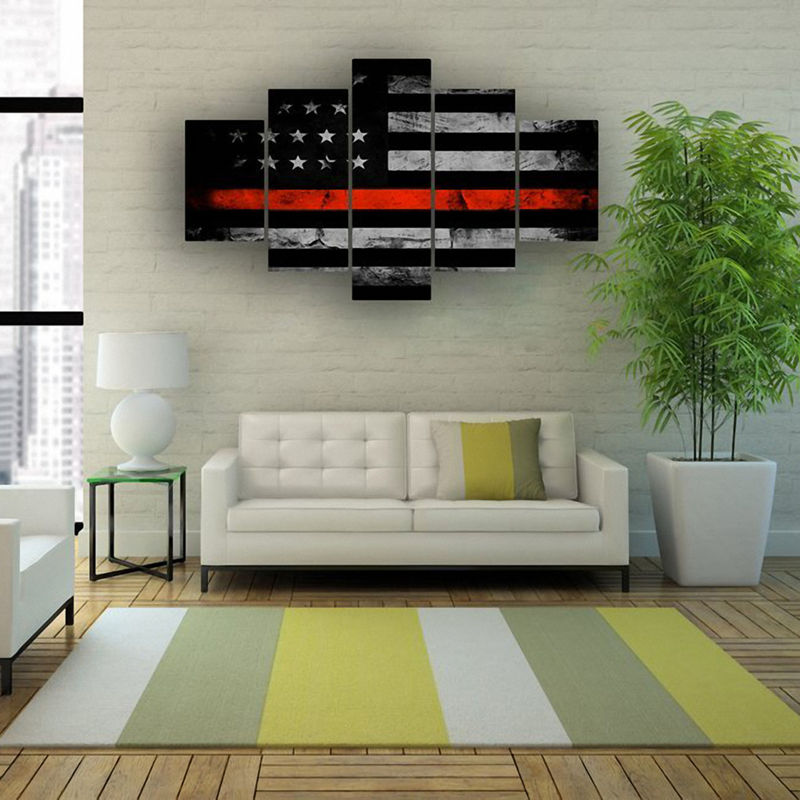 Retro American Flag Canvas Print Art Black And
