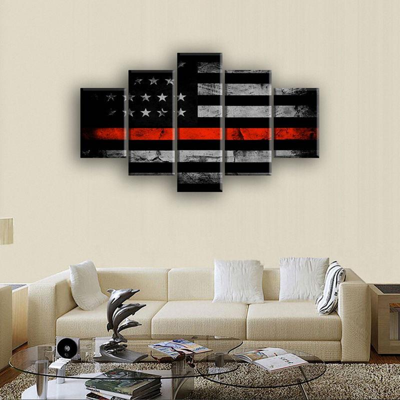 Retro American flag canvas print art black and white red home decor ...