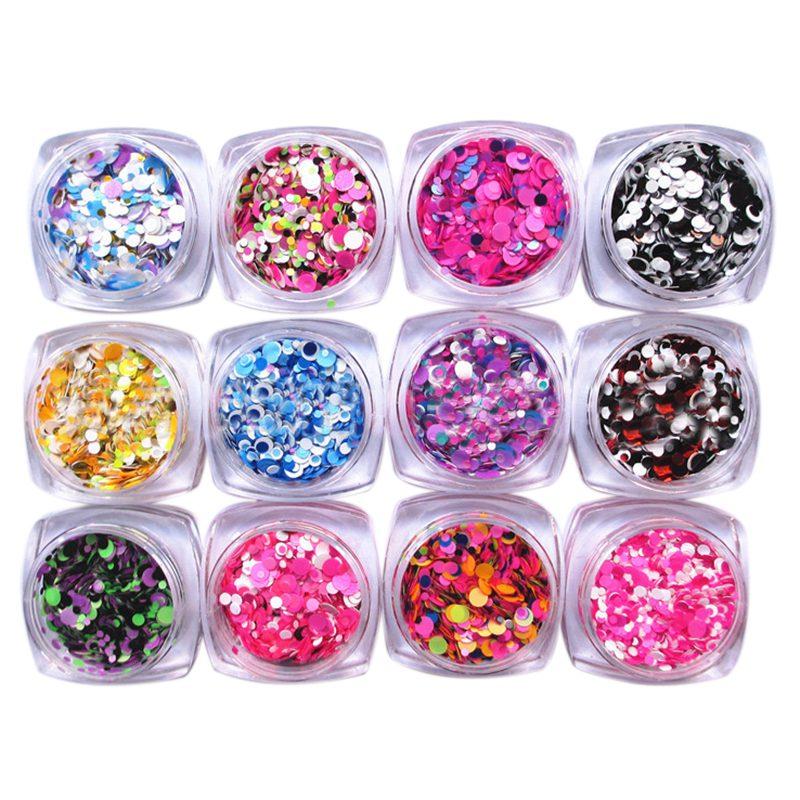 Nail Art Glitter Powder Dust For UV GEL Acrylic Powder Sequins ...