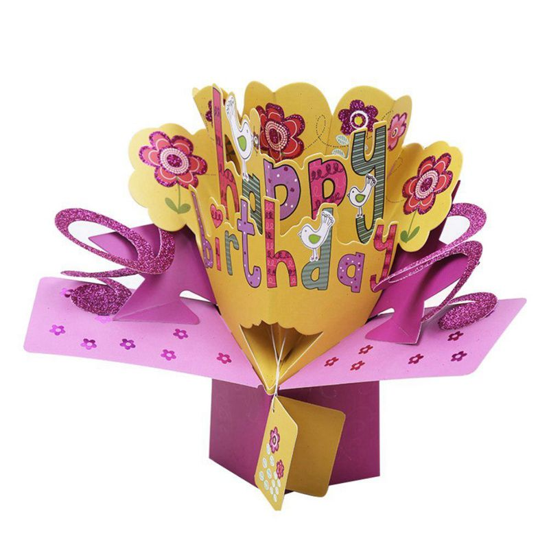 3d happy birthday with flowers pop up greeting card handmade gift image is loading 3d happy birthday with flowers pop up greeting m4hsunfo