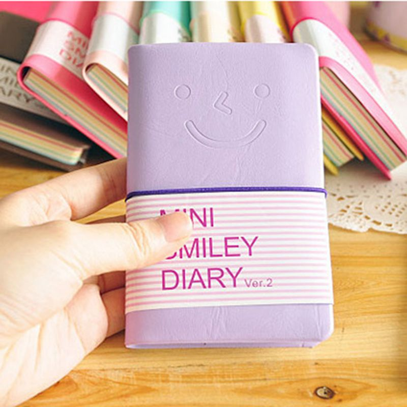 Memo Charmante tragbar Mini Smiley Tagebuch Notizbuch Lederhuelle 100 Bla E5U8