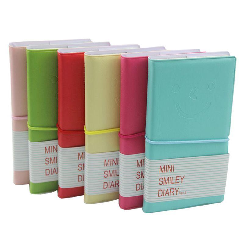 100 Bla X3A3 Memo Charmante tragbar Mini Smiley Tagebuch Notizbuch Lederhuelle