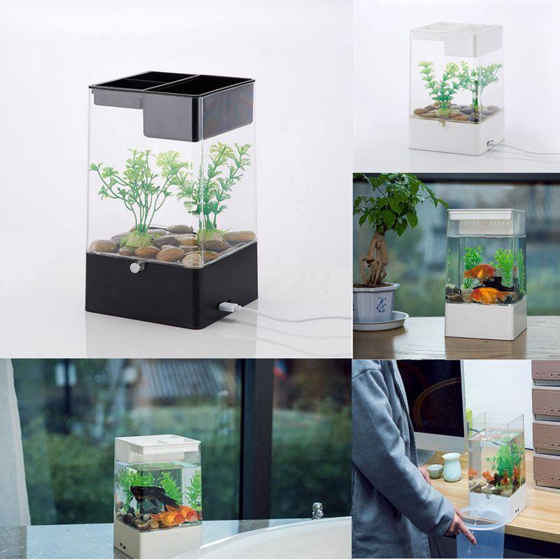 office desk fish tank. LED-Light-Square-USB-Interface-Aquarium-Ecological-Office- Office Desk Fish Tank T
