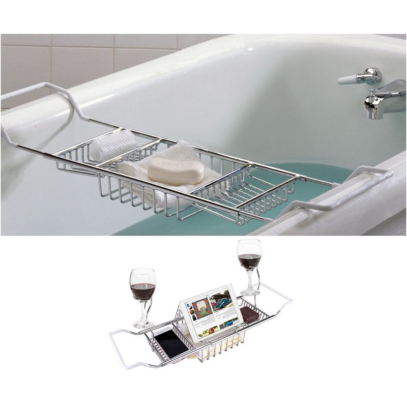 Over Bath Tub Racks Shower Organizer Bathtub Caddy Tray with ...