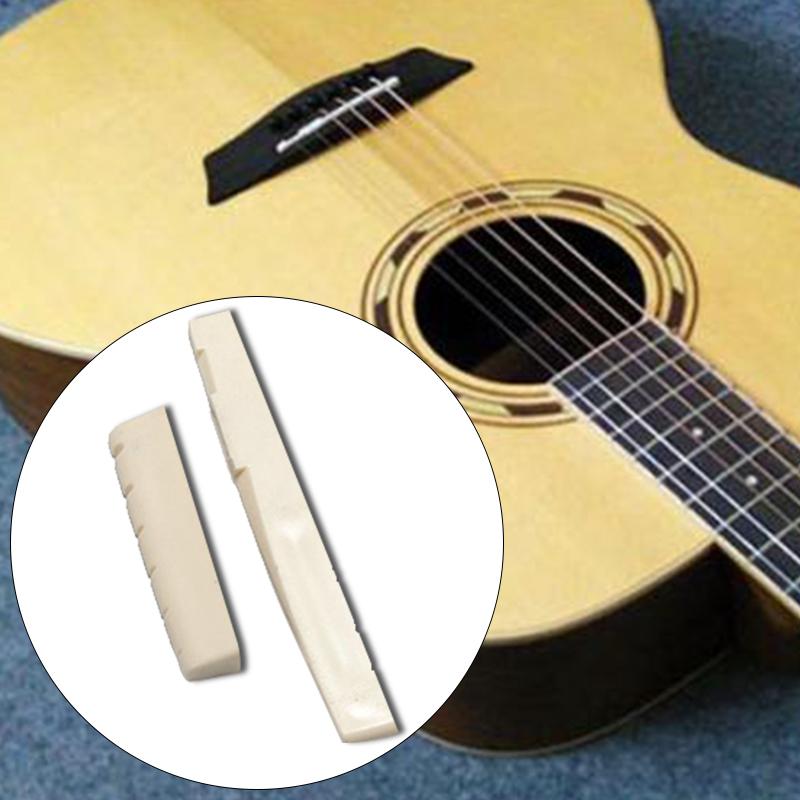 6 Bruecke Pins+Sattel+Steg-Sattel Knochen//Bone Akustik Gitarre weiss F3J2