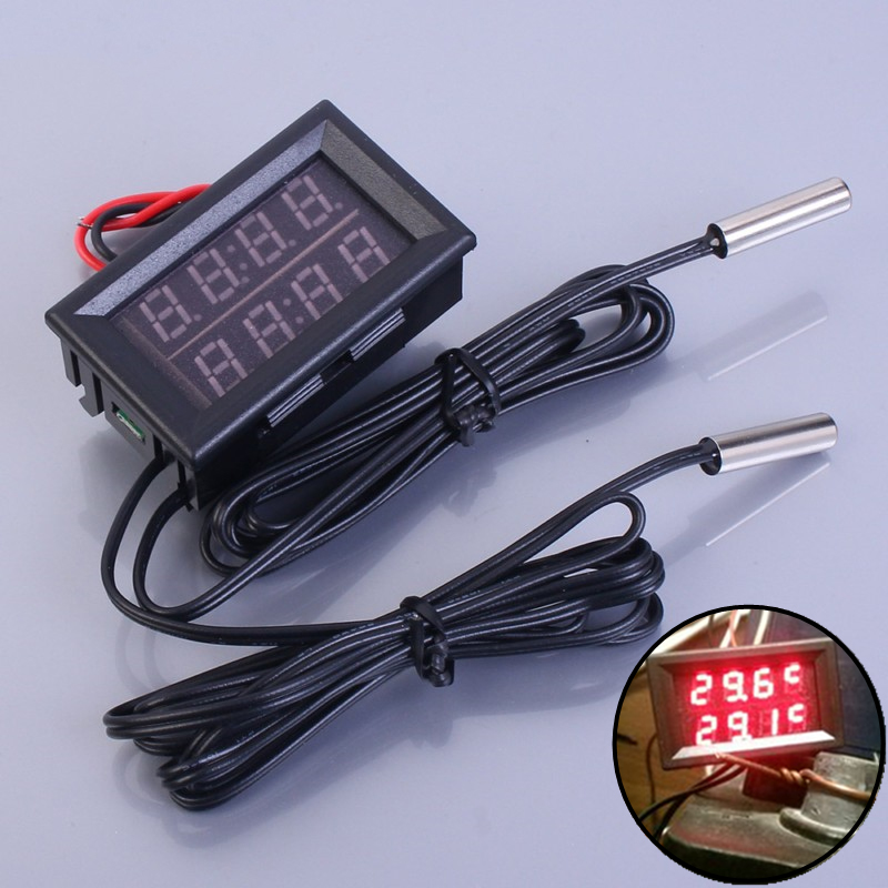 2X Dual Rot LED Digitalanzeige Thermometer Wasserdicht Temperatursensor 0,5 E6J5