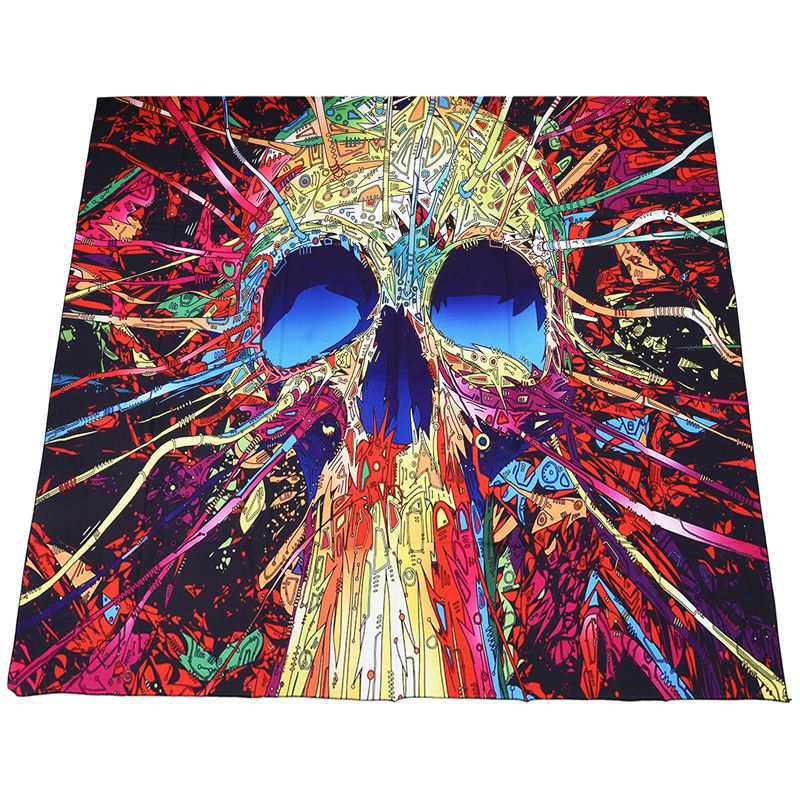 130x150cm Polyester Home Wall Decor Art Bohemian Wall Tapestry(Color skull) W8V8