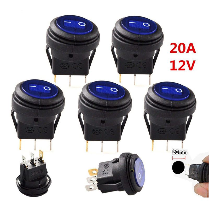 5 pcs 12V 20A Waterproof Round On//Off Rocker Switch Car Auto Boat SPST M8P1