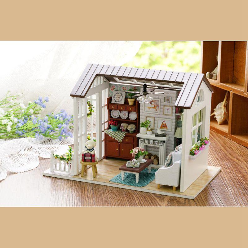 Dollhouse-Miniature-DIY-House-Model-Building-Kit-Wooden-Creative-Room-With-U4I1 thumbnail 2