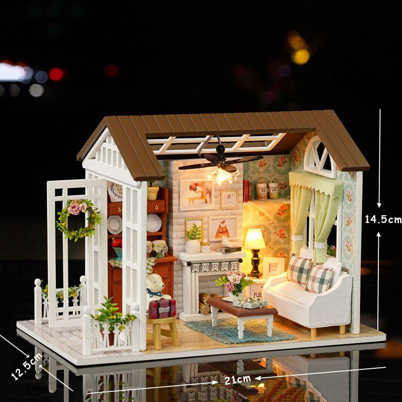 Dollhouse-Miniature-DIY-House-Model-Building-Kit-Wooden-Creative-Room-With-U4I1 thumbnail 3