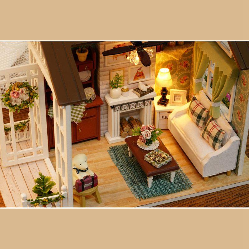Dollhouse-Miniature-DIY-House-Model-Building-Kit-Wooden-Creative-Room-With-U4I1 thumbnail 4