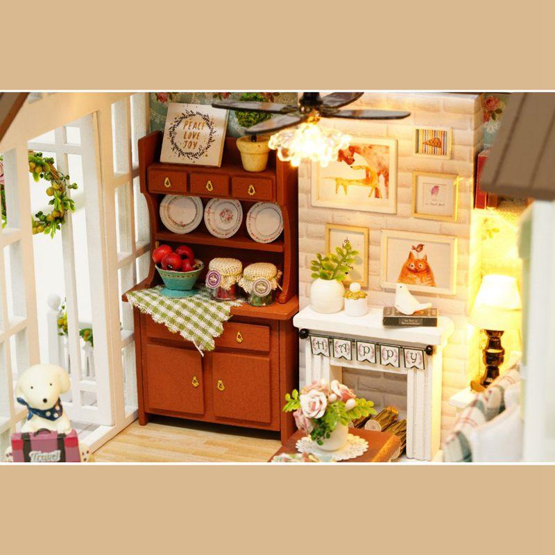Dollhouse-Miniature-DIY-House-Model-Building-Kit-Wooden-Creative-Room-With-U4I1 thumbnail 5
