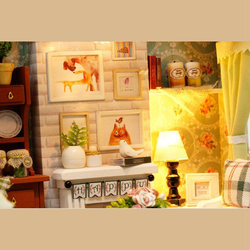 Dollhouse-Miniature-DIY-House-Model-Building-Kit-Wooden-Creative-Room-With-U4I1 thumbnail 7