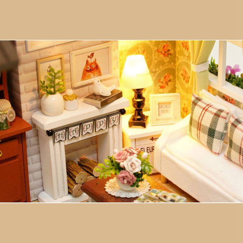 Dollhouse-Miniature-DIY-House-Model-Building-Kit-Wooden-Creative-Room-With-U4I1 thumbnail 10