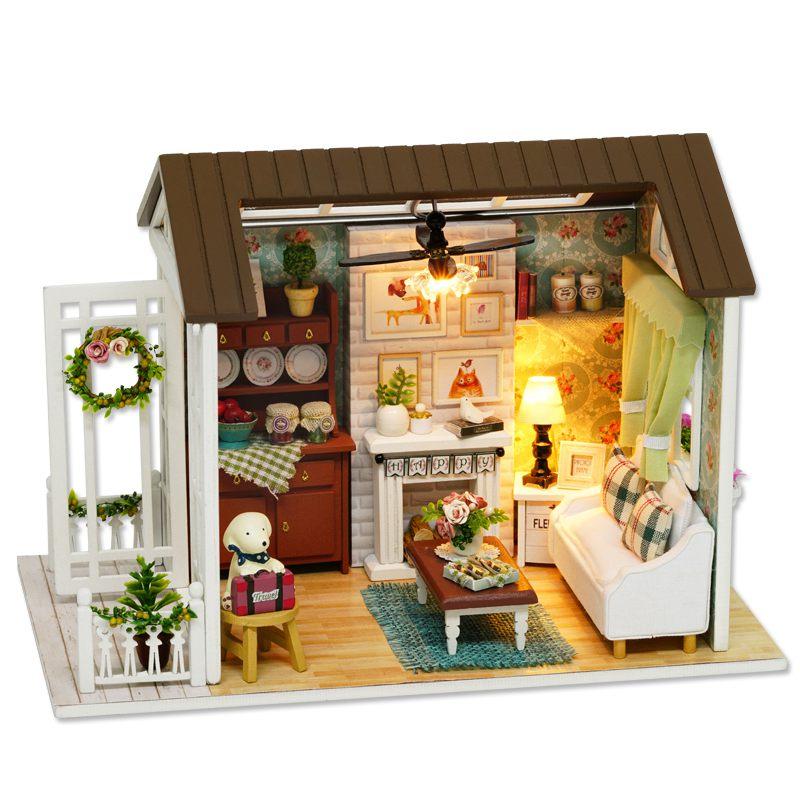 Dollhouse-Miniature-DIY-House-Model-Building-Kit-Wooden-Creative-Room-With-U4I1