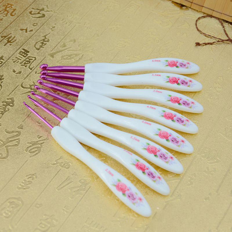 Conjunto de ganchos ganchillo aluminio Manija plastico Ganchos agujas tejer D2M8