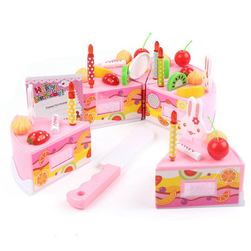 75pcs Diy Pretend Play Fruit Cutting Birthday Cake Kitchen Food Toys