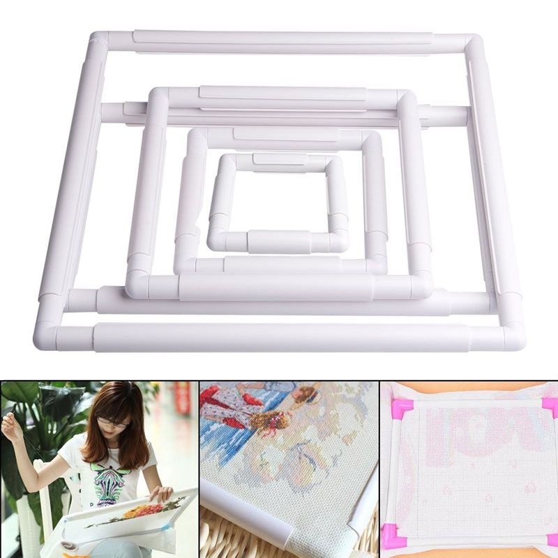 Handheld Square Shape Embroidery Plastic Frame Hoop Cross Stitch ...