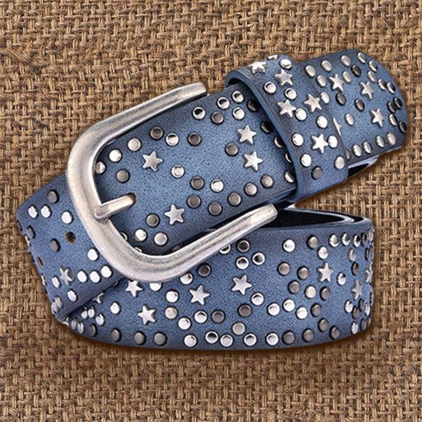 woman belts Star geometric rivet pin buckle PU belt for women fashion toI9F5 1X