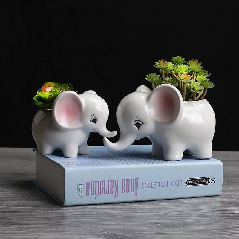 Form der Tiere Blumentopf aus Keramik Elefant Sukkulenten Pflanzer Kaktus S V4J8