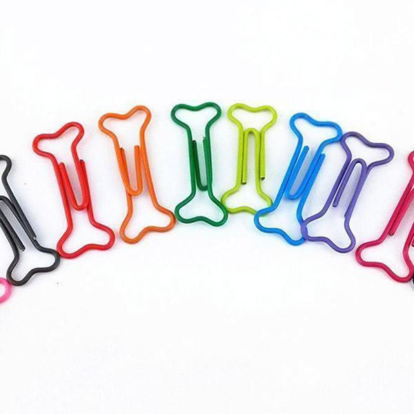 100pcs Bone Shape Multicolor Metal Paper Clips J9H9