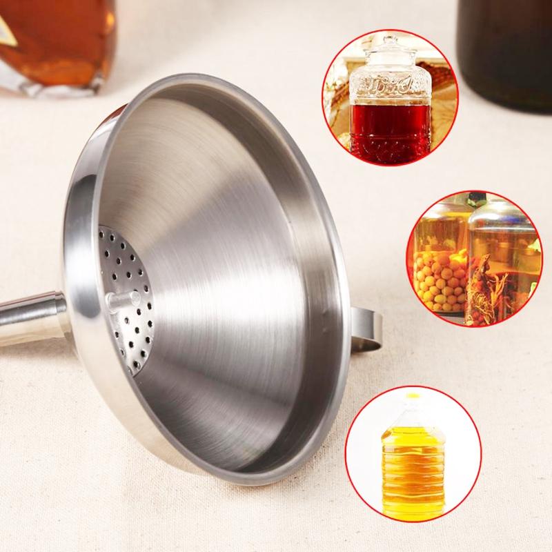 Embudo de cocina de acero inoxidable con filtro extraible para transportar li E8