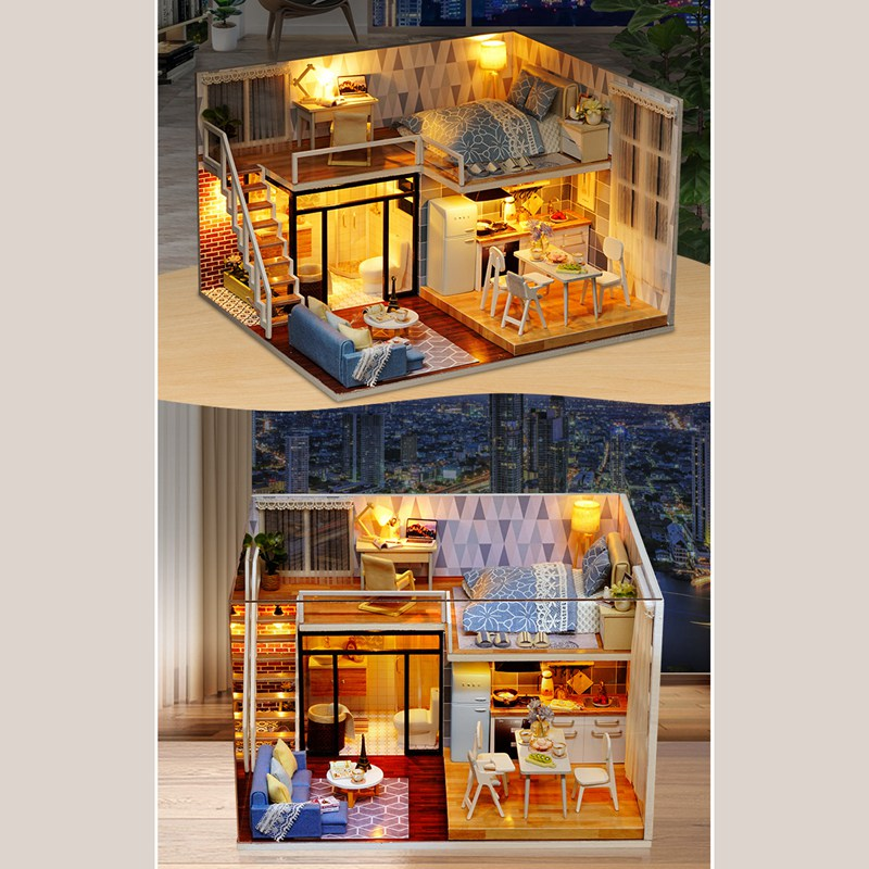 DIY Doll House Wooden Doll Houses Miniature dollhouse Furniture Kit Toys Q8K7