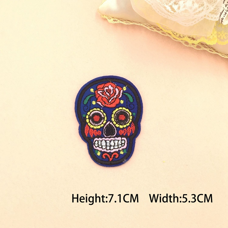 8 Pcs Sugar Skull Iron On//Sew Cloth Patch Badge Mexico Day of the Dead Appl B5D7