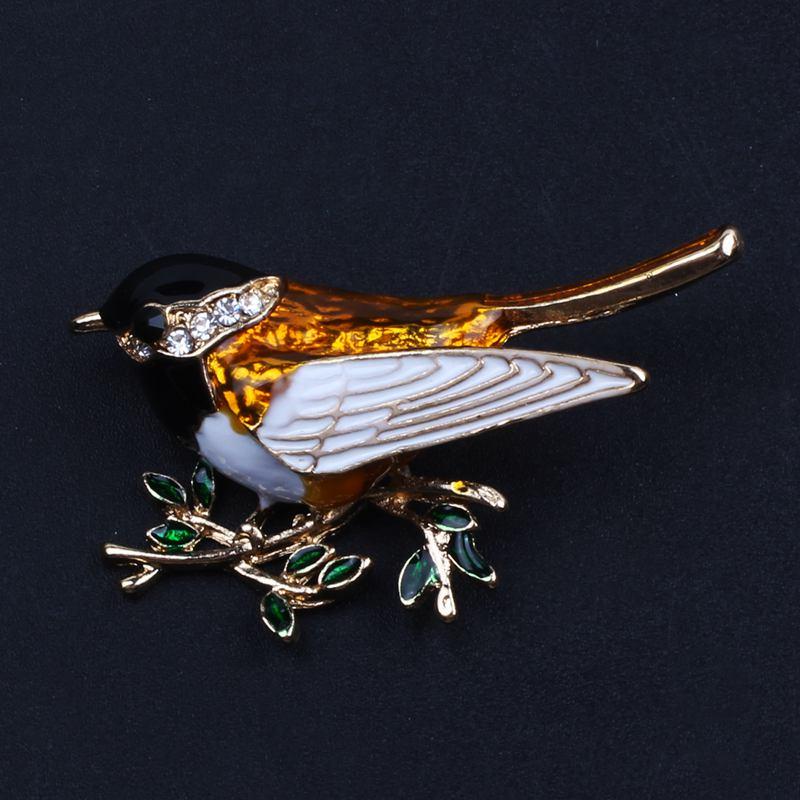 Turpial de Diamantes de Imitación Esmalte Pájaro Broches para hombre mujer de aleación Pájaro Rama Broche I6L5