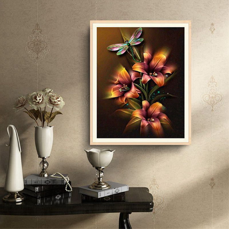 5D DIY Diamond Embroidery Lily Flower and Dragonfly Diamond Painting Cross A3N9