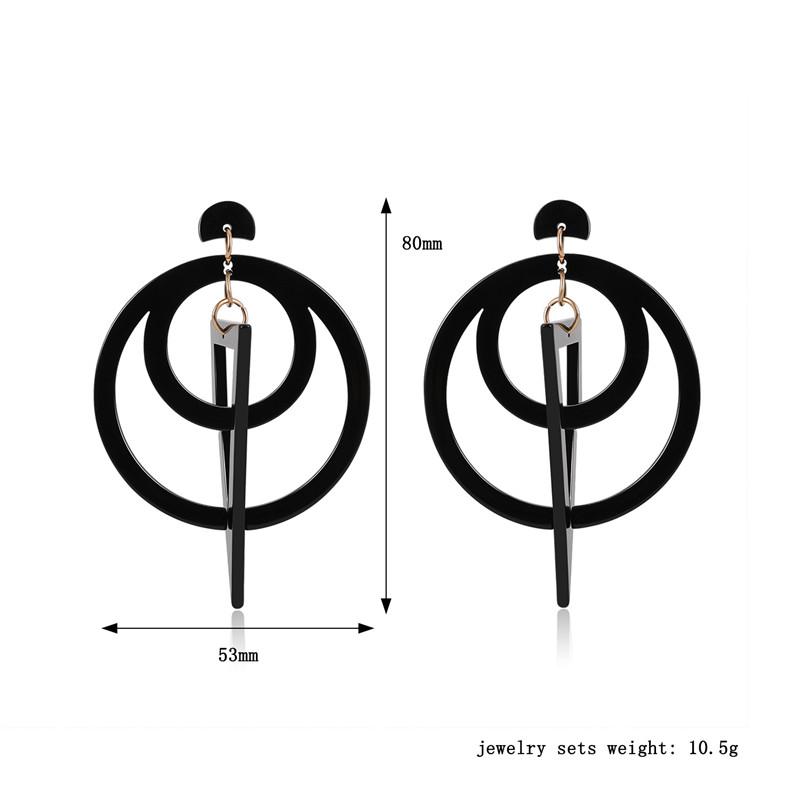 Femmes Boucles D/'oreilles Classique Acrylique Double cercle boucles d/'oreilles Pendantes Rétro Géométrie U5K4