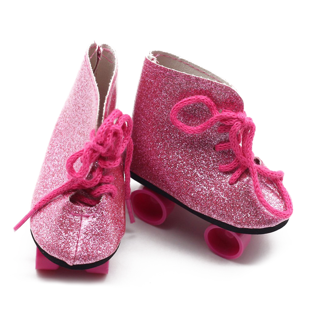 Пара роликовых коньков обувь для 18-дюймового путешествия одежда куклы одеваются аксессуары розовый