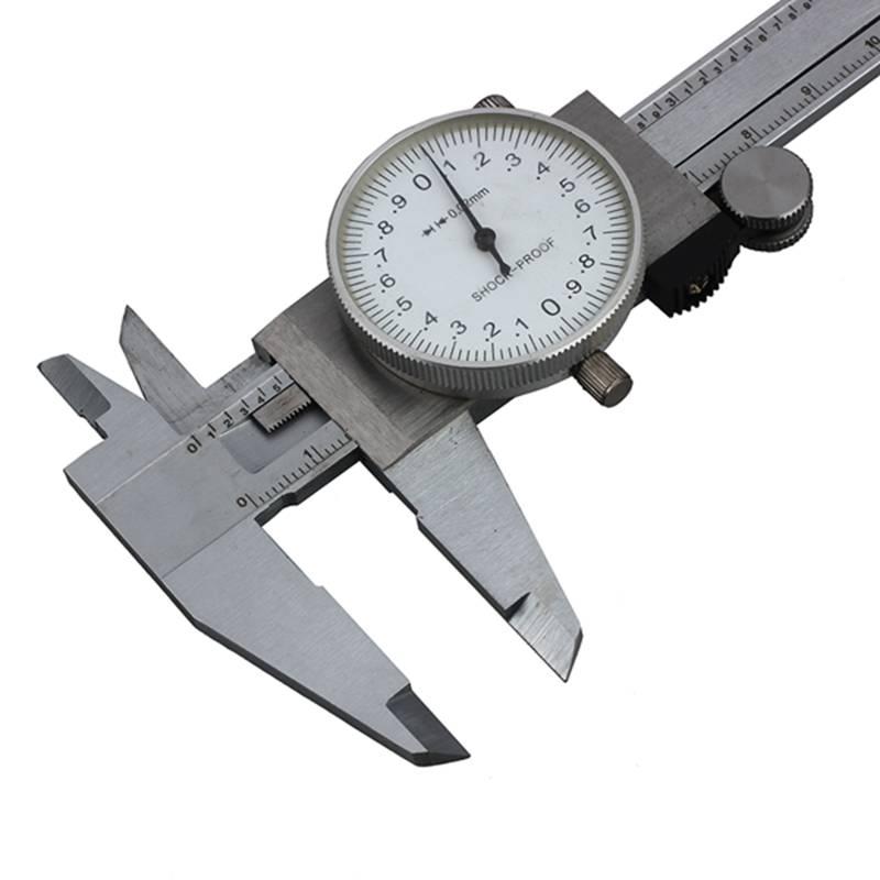 Lugong Dial 0-150 mm mit Tisch Messschieber Rotes Kunststoff Gehaeuse U5M2